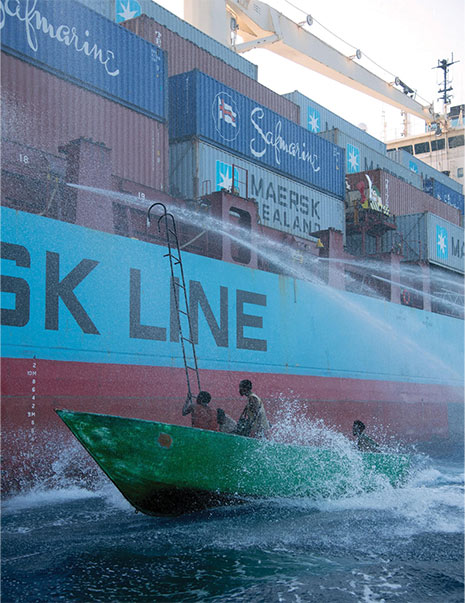 Scene from the Captain Phillips Film. Somali pirates attempt to board the Maersk Alabama ship.