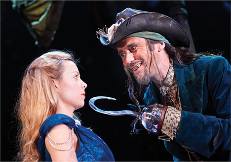 Fiona Button and Guy Henry as Wendy and Hook at the Royal Shakespeare Theatre, Stratford upon Avon, 2013.