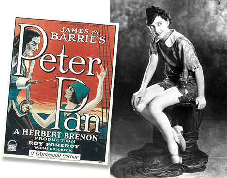 Betty Bronson as peter Pan in the 1924 silent movie