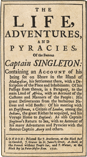 Poster for the Life Adventures and Pyracies of the Famous Captain Singleton