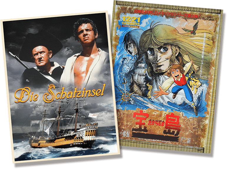 Posters of several foreign adaptations of treasure Island
