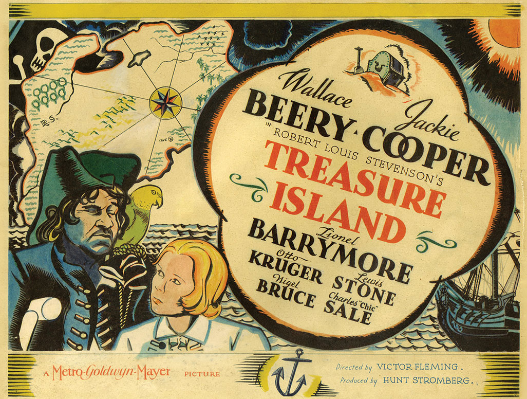 Film poster for the 1934 version of Treasure Island featuring Wallace Beery and Jackie Cooper
