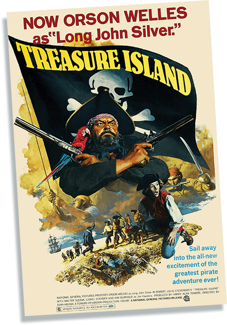 Film poster for the 1972 version of Treasure Island featuring Orson Welles as Long John Silver