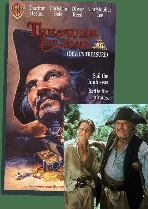 Film poster and still from Treasure Island Devils Treasure