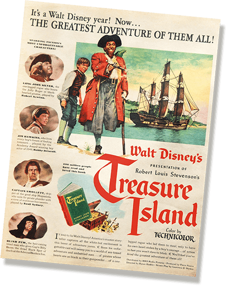 Poster for the 1950 version of Treasure Island