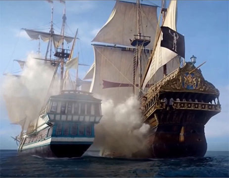 Scene of pirate ships in battle from Black Sails movie