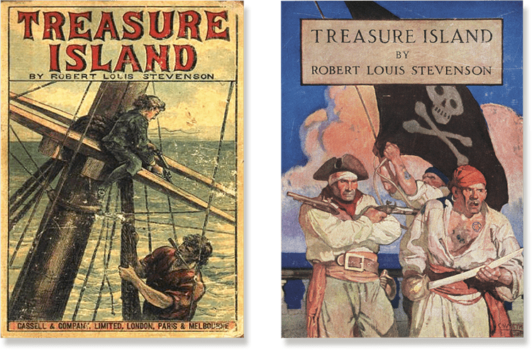 Covers of some of the many published versions of Treasure Island