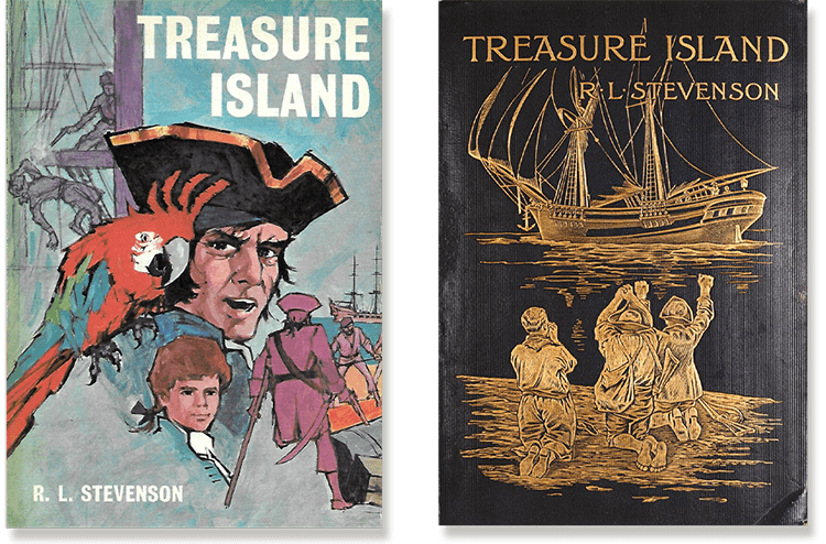 The covers of some of the many published editions of Treasure Island