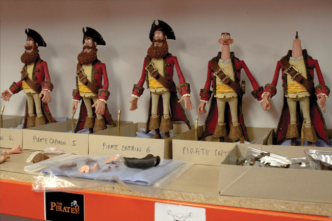 Various figures of The Pirate Captain used by Aardman Animations.