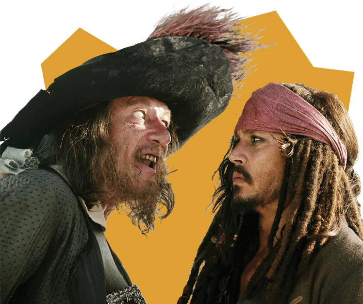 Geoffrey Rush as Captain Barbossa and Johnny Depp as Captain Jack Sparrow