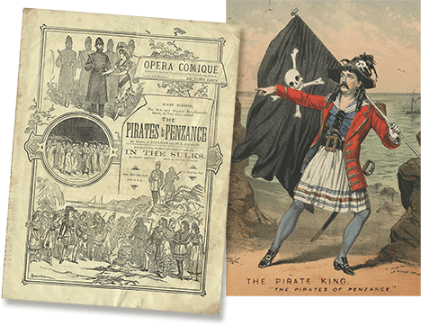 Posters for The Pirates of Penzance comic opera