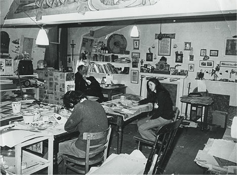 Photographs of staff working in the Captain Pugwash studio.