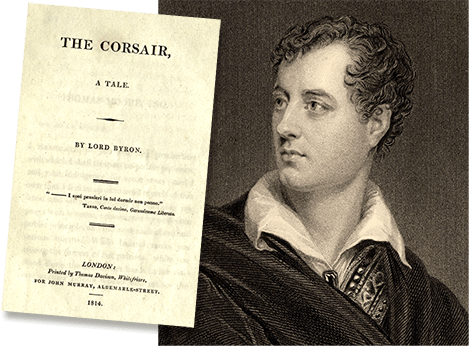 Illustration of Lord Byron alongside a picture of his 1814 poem The Corsair