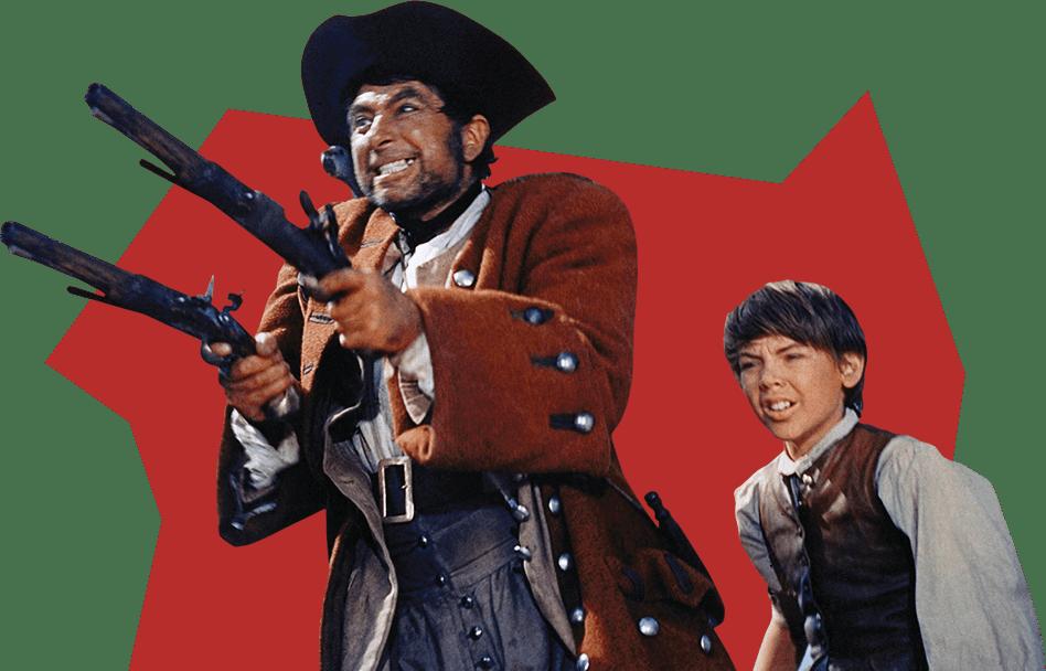 Bobby Driscoll as Jim Hawkins and Robert Newton as Long John Silver, Treasure Island, 1950