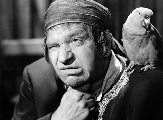 Wallace Beery as Long John Silver, Treasure Island, 1934