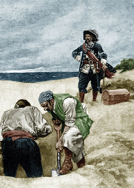 Illustration of Pirates burying treasure