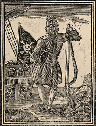 Old illustration of a pirate beside the Jolly Roger flag.